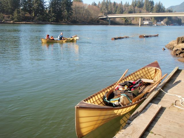 Skin-on-frame Adirondack guide boat, built by Brian Schulz, at the Nehalem boat launch.