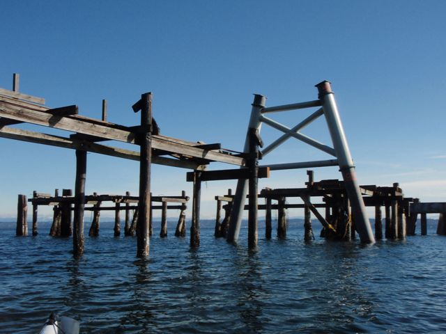 Construction of pilings for a new dock at the Maury Island gravel pit commences.