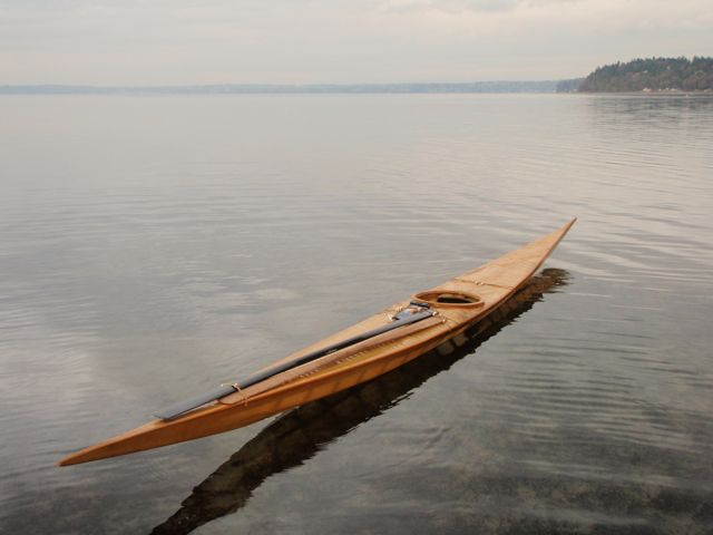 East Greenland replica kayak, at Dash Point beach.