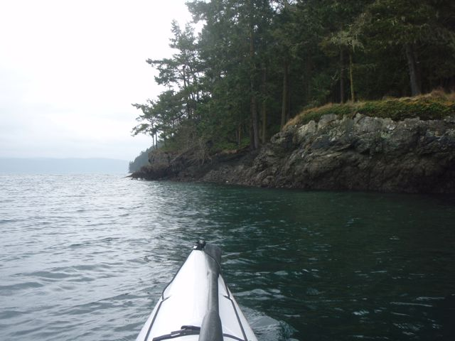 Rocky cliffs on the northeast shore of Shaw Island.