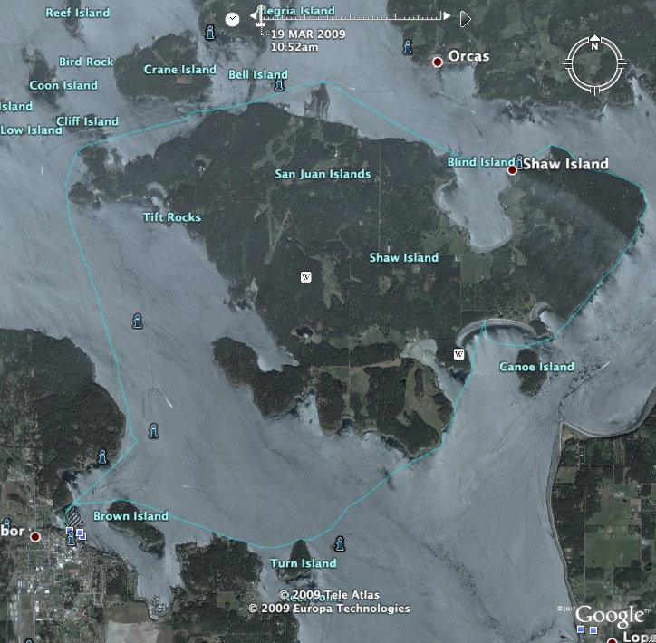 The actual GPS route for my clockwise Shaw Island circumnavigation.
