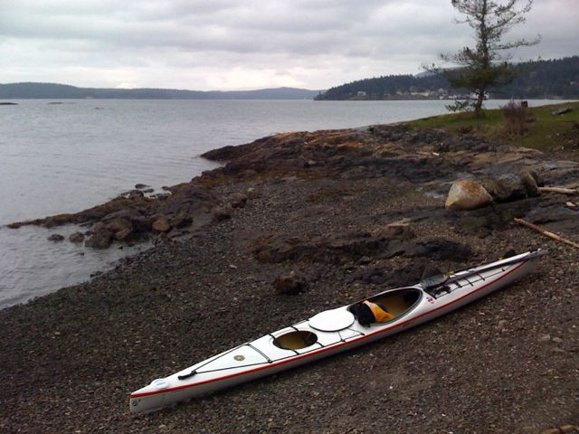 Blind Island beach, Orcas Island ferry terminal in the background.