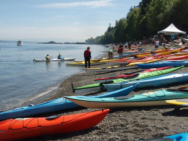 Kayaks on Owen Beach for the 2009 Puget Sound Sea Kayak Symposium