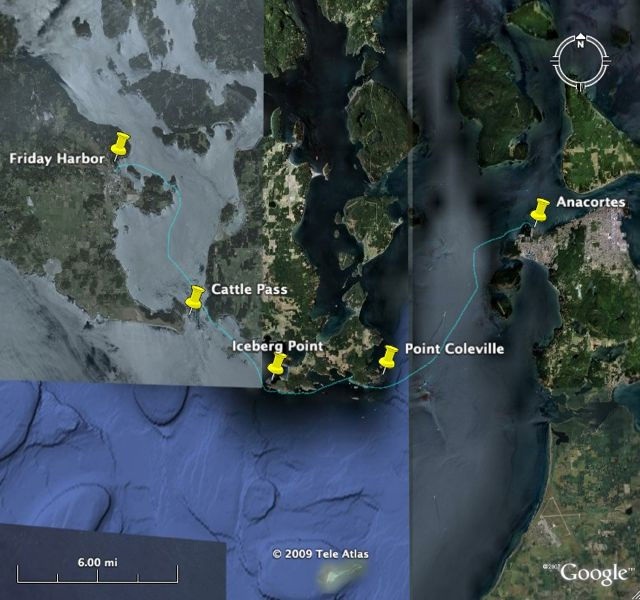 My GPS track: start at Anacortes, end at Friday Harbor, distance 23 nm