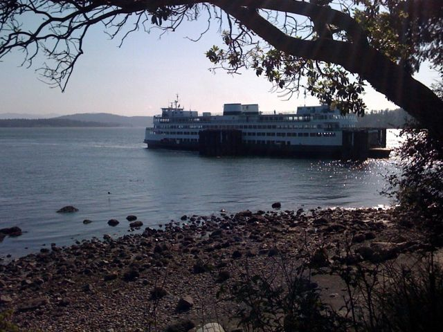 Washington State Ferry arrives at the Anacortes terminal.