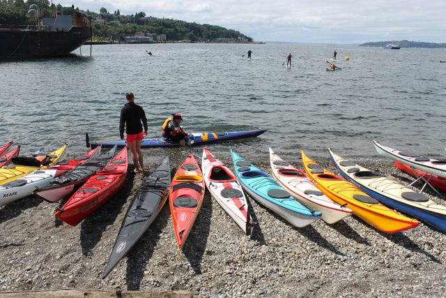Amazing variety in the new sea kayaks available for demo at the Northwest Paddling Festival.