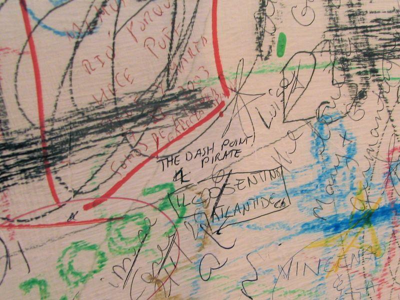 One of the graffiti walls at Hostaria Romana, Rome, Italy