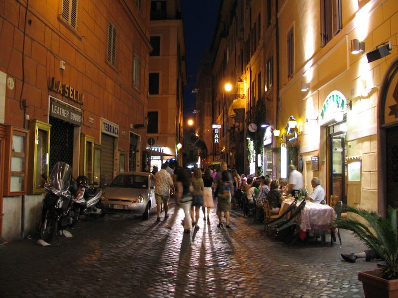 Street on a warm summer night, Rome, Italy