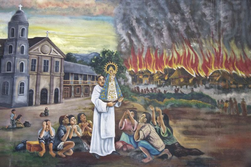 Painting depicting a wildfire that destroyed the village of Manaoag.