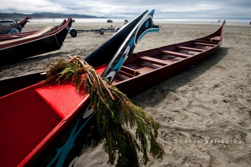 Canoes on the beach, Grenville Bay.