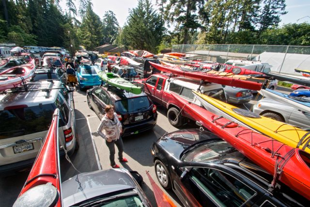 Participants kept their kayaks on their cars overnight in a packed parking lot. Photo copyright Andrew Elizaga