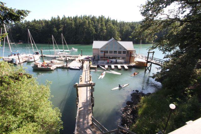 The Pearson College boathouse. Photo copyright Andrew Elizaga