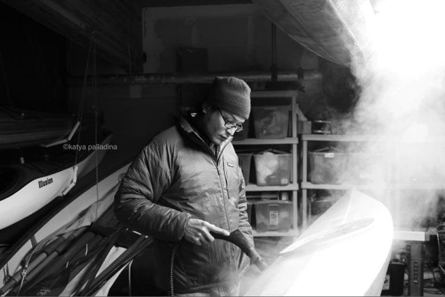 Shrinking the nylon skin with steam. Photo copyright Katya Palladina.