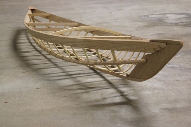 Completed frame, length 15 ft, beam 23.5 in. Photo copyright Katya Palladina