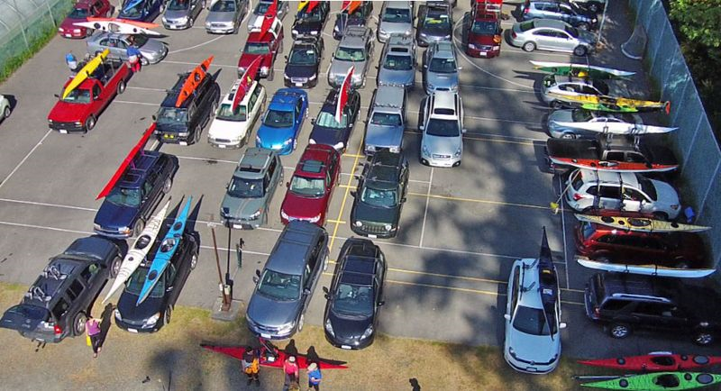 Flying my drone over the parking lot. Photo copyright Andrew Elizaga