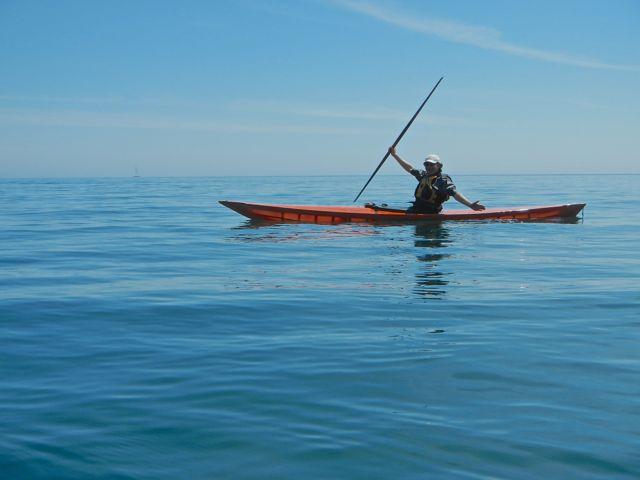 Andrew in Katya's skin-on-frame kayak. Photo copyright Katya Palladina.