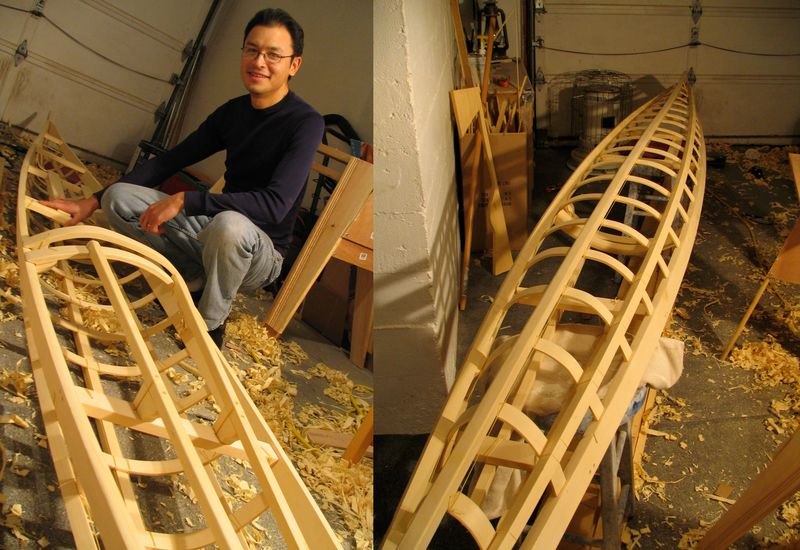 Building my first Greenland-style kayak, fall 2004