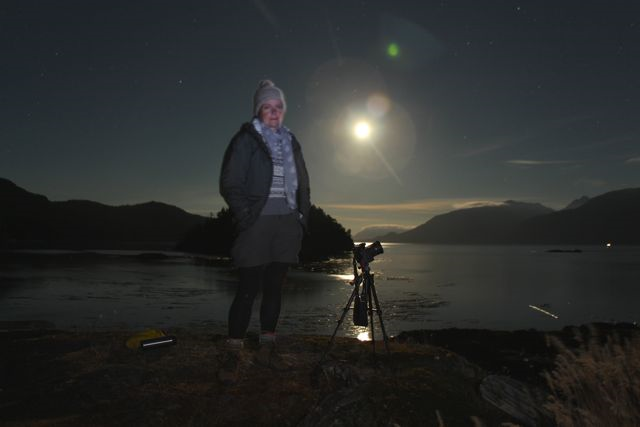 Katya in the light of the full moon, overlooking Boat Bay and Johnstone Strait.