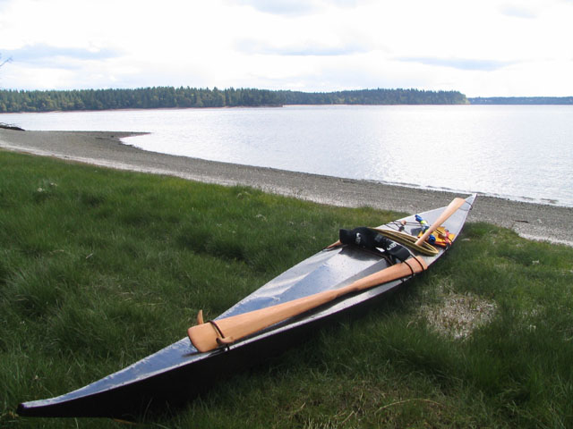 My skin-on-frame Greenland kayak, Misterie, on Hope Island.  Photo Copyright ©2006 Andrew Elizaga
