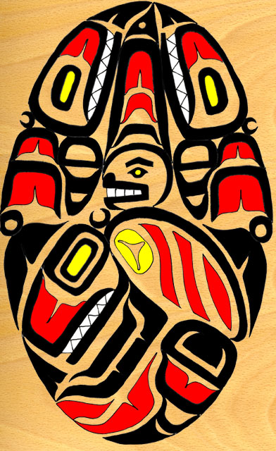 Back hatch graphic, original design in the Pacific North Coast style by Andrew Elizaga