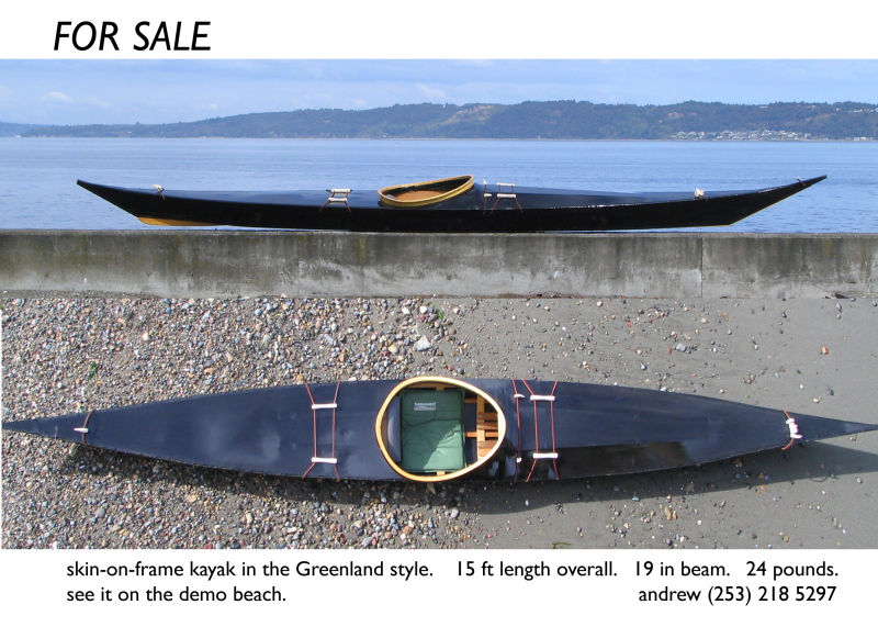 For Sale: black greenland style skin on frame kayak. Photo Copyright ©2005 Andrew Elizaga