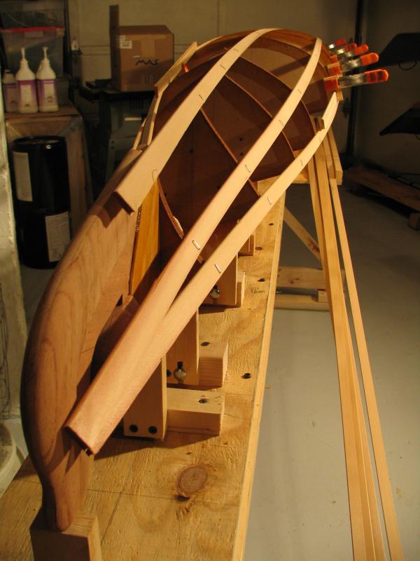 Building the cedar strip Shooting Star baidarka. Photo Copyright 2005 Andrew Elizaga