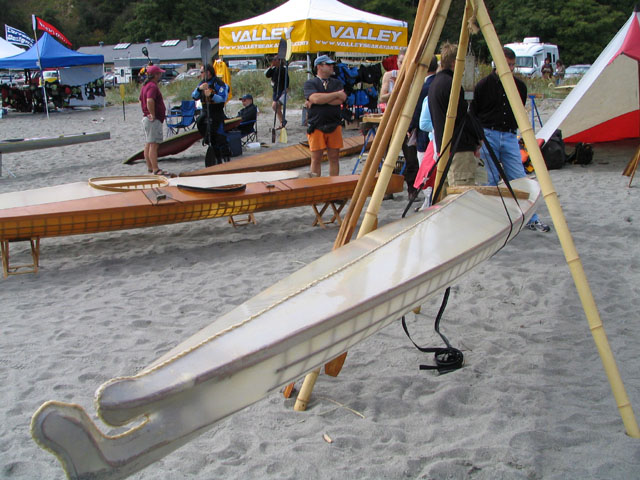 A skin-on-frame baidarka at the West Coast Sea Kayak Symposium. Photo Copyright ©2005 Andrew Elizaga